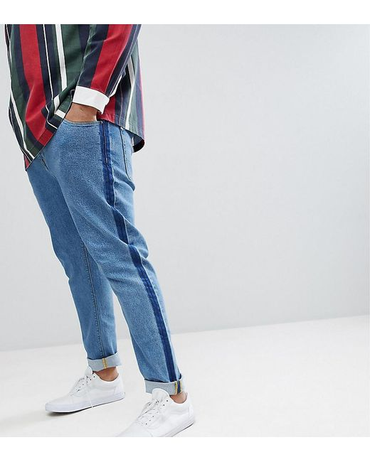 ASOS DESIGN - Plus Skinny Jeans In Mid Wash Blue With Side Seam Detail for Men - Lyst