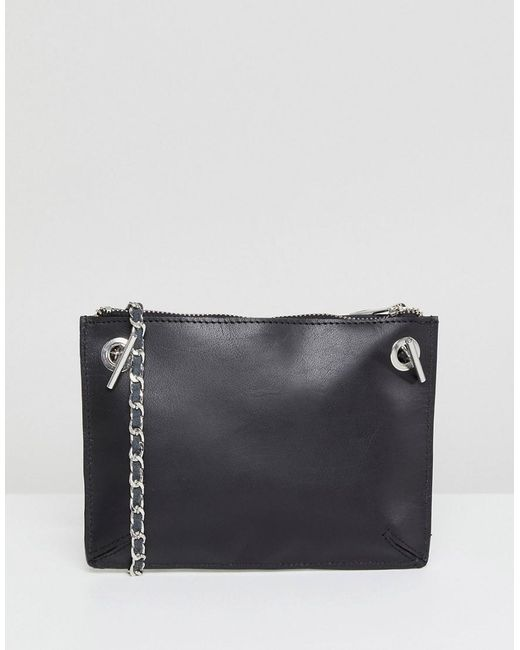 DESIGN Leather Minimal Chain Strap Cross Body Bag - Black Asos LHpSsBx
