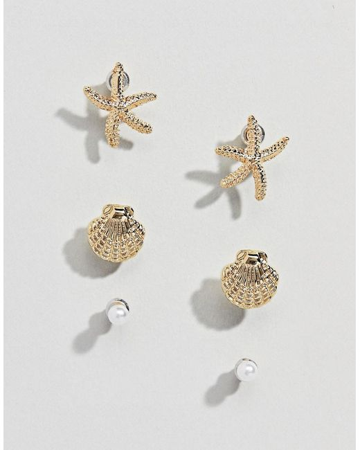 ASOS - Metallic Pack Of 3 Stud Earrings With Shell And Starfish Design In Gold - Lyst
