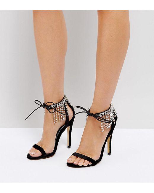 12f9e80d3b69 Truffle Collection - Black Embellished Heeled Sandal - Lyst ...