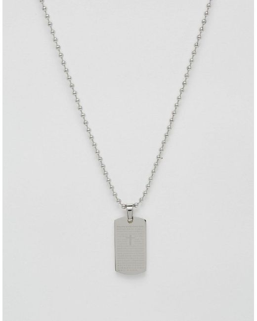 Seven London - Metallic Dogtag Necklace In Silver Exclusive To Asos for Men - Lyst
