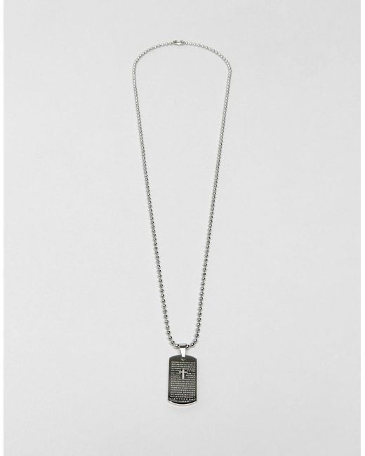 Seven London   Metallic Dogtag Necklace In Silver Exclusive To Asos for Men   Lyst