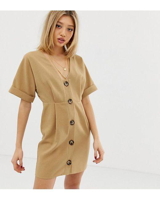 320a33bbba4 ASOS - Natural Asos Design Petite Button Through Mini wiggle Dress - Lyst  ...