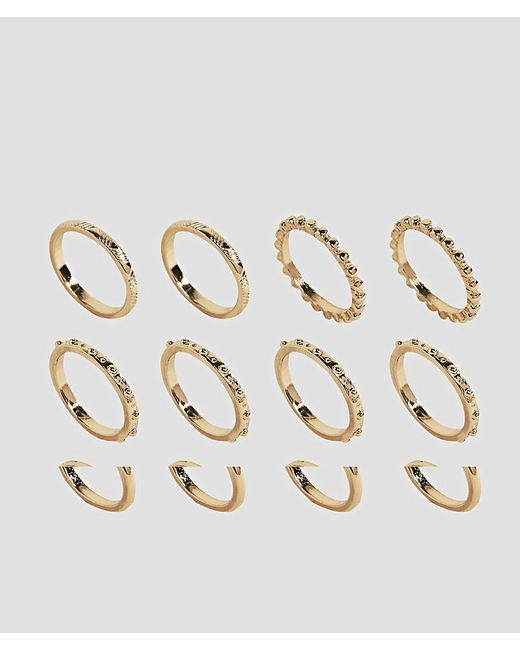 ASOS | Metallic Pack Of 12 Ball Detail And Engraved Rings | Lyst