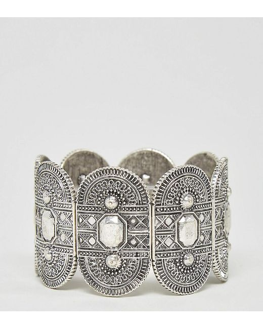 ASOS - Metallic Exclusive Engraved Stretch Bracelet - Lyst