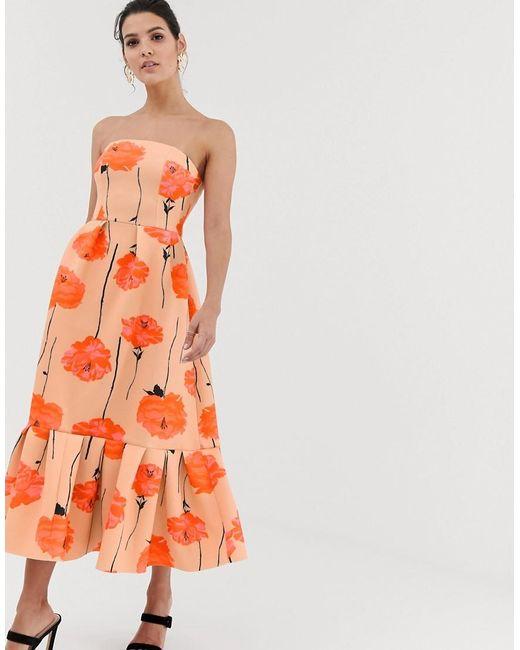 add47a2711e8 ASOS - Orange Poppy Printed Bandeau Midi Dress With Ruffle Pep Hem - Lyst  ...