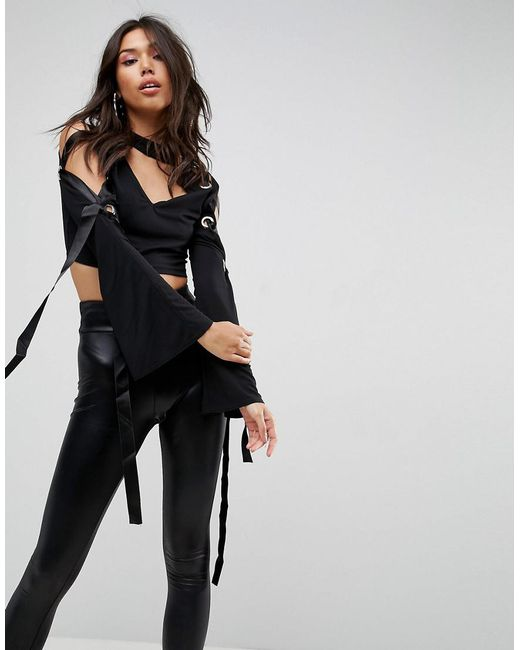 ASOS | Black Top In Crepe With Caging Eyelet Wide Sleeve Detail | Lyst