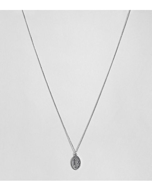 ASOS - Metallic Design Sterling Silver Vintage Style Reversible Icon And Engraved Cross Necklace - Lyst