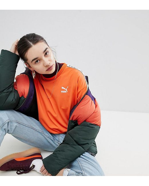 276b35d6422 PUMA - Exclusive To Asos Sweatshirt With Taped Side Stripe In Orange - Lyst  ...