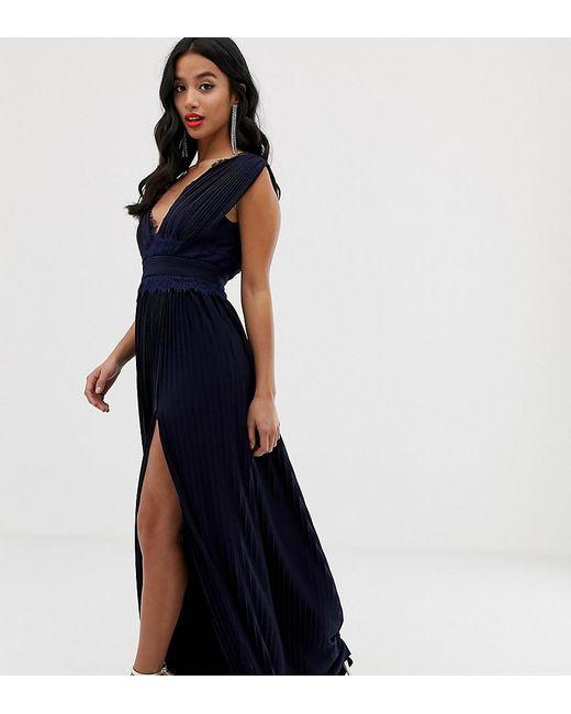 156cf9e9cf0f6 ASOS - Blue Asos Design Petite Premium Lace Insert Pleated Maxi Dress -  Lyst ...