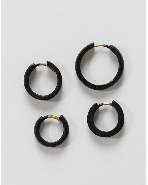 ASOS - Metallic Design Hinge Hoop Earring Pack In Matte Black - Lyst