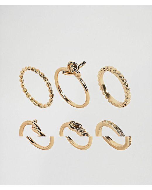 ASOS | Metallic Pack Of 6 Fine Twist Rings | Lyst
