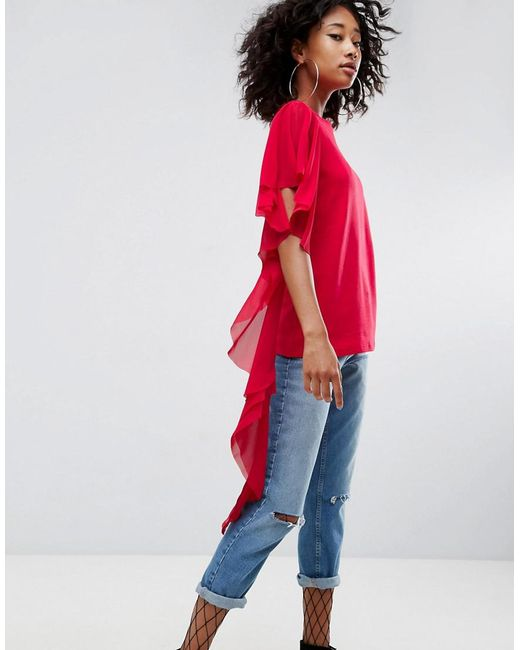 ASOS | Red T-shirt With Dramatic Assymetric Woven Ruffle | Lyst