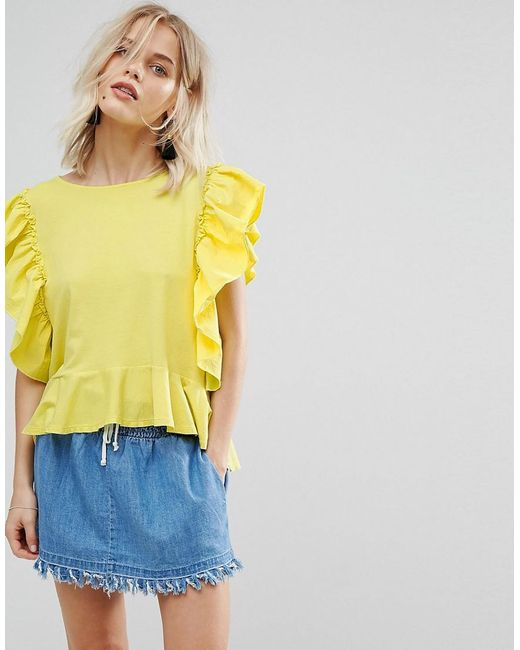 Mango | Yellow Frill Front Jersey Top | Lyst