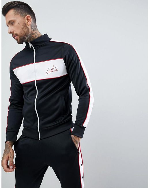 The Couture Club - Muscle Fit Track Jacket In Black With Side Stripe for Men - Lyst
