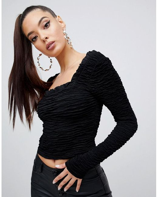 b0197131db92e ASOS - Black Long Sleeve Square Neck Top In Ripple Texture - Lyst ...