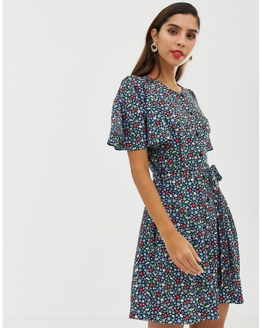 02614a25d3c French Connection - Blue Belted Floral Playsuit - Lyst ...