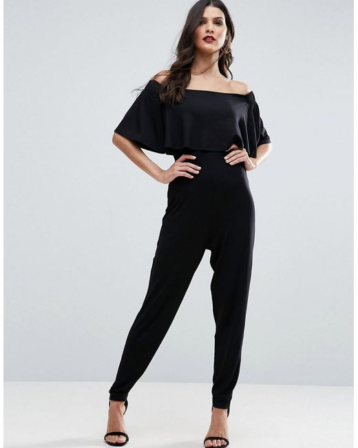 ASOS - Black Ruffle Bardot Jumpsuit In Jersey - Lyst