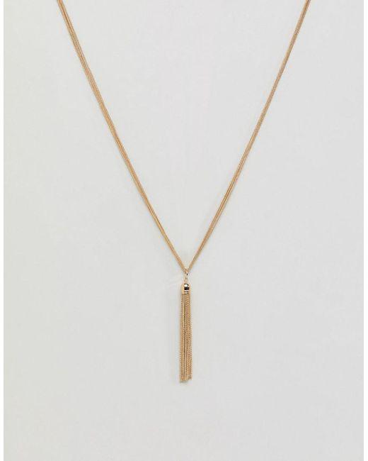 ASOS - Metallic Metal Tassel Long Pendant Necklace - Lyst