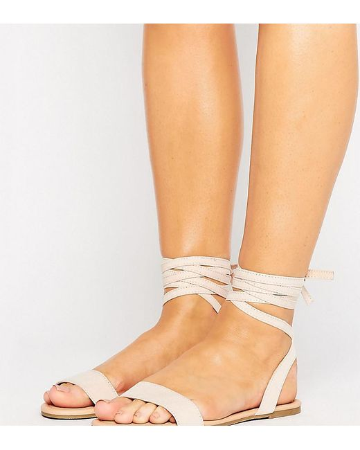 ASOS | Natural Fiona Wide Fit Tie Leg Flat Sandals | Lyst