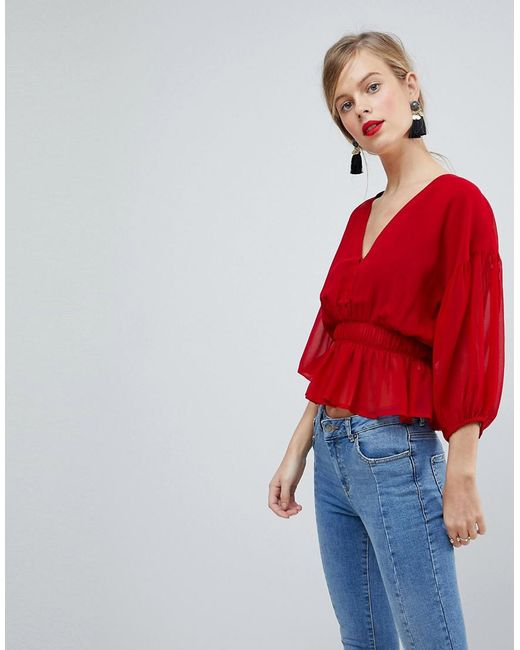 ASOS - Red Sheer Waisted Poets Sleeve Blouse - Lyst