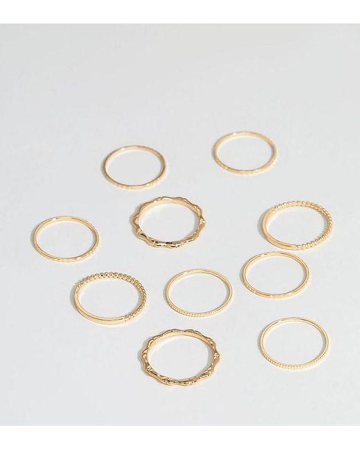 ASOS - Metallic Asos Design Curve Pack Of 10 Rings In Minimal Design In Gold - Lyst