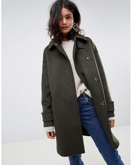 348475059194ec ASOS - Green Coat In Twill With Buckle Neck - Lyst ...