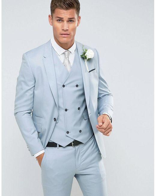 ASOS - Wedding Skinny Suit Jacket In 100% Wool In Ice Blue for Men ...