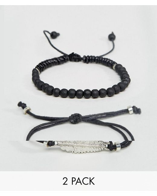 ASOS | Bracelet Pack In Black With Beads And Feather | Lyst
