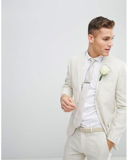 Lyst - River Island Wedding Slim Fit Linen Suit Jacket In Ecru for Men