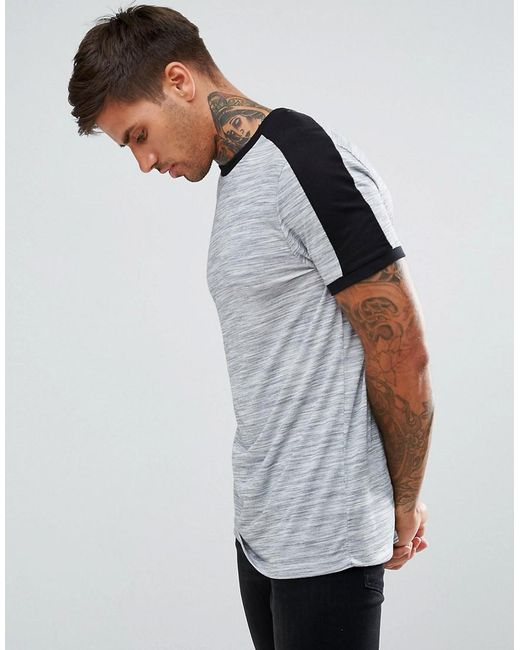 ASOS - Gray Asos T-shirt With Shoulder Colour Block In Interest Fabric In Grey for Men - Lyst