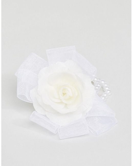 ASOS | White Faux Pearl Flower Corsage Bracelet | Lyst