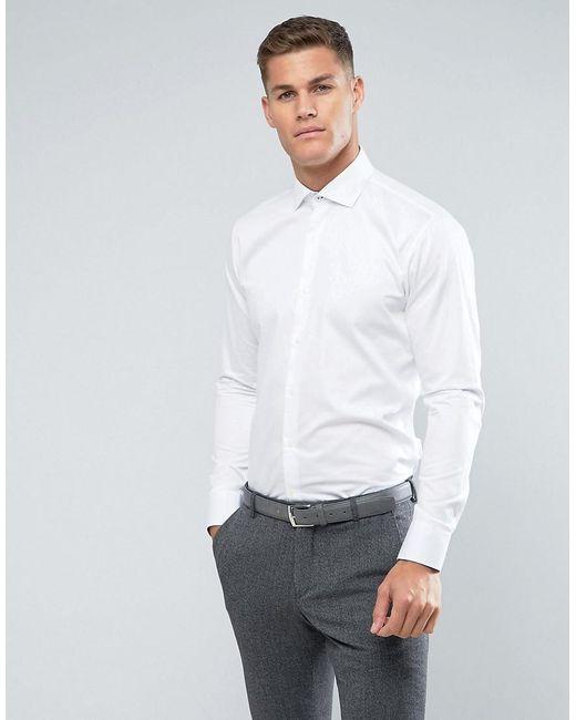 Lyst - Ted baker Slim Smart Shirt in White for Men