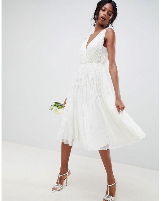 Asos White Waterfall Sequin Midi Wedding Dress Lyst