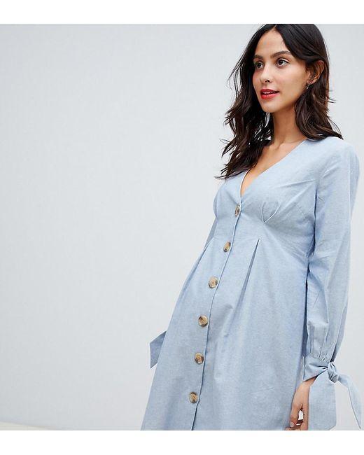 22b8568e7859 ASOS - Blue Asos Design Maternity Button Through Mini Casual Skater Dress  With Tie Sleeves In ...