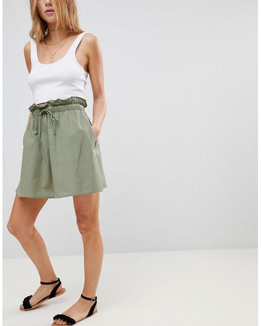 ASOS - Green Cotton Mini Skater Skirt With Tie Waist - Lyst