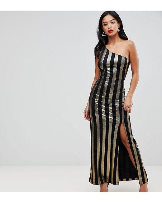 Lyst John Zack One Shoulder Contrast Stripe Maxi Dress In Black