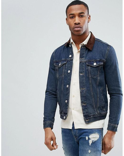 New Look Denim Jacket With Corduroy Collar In Mid Wash In Blue For