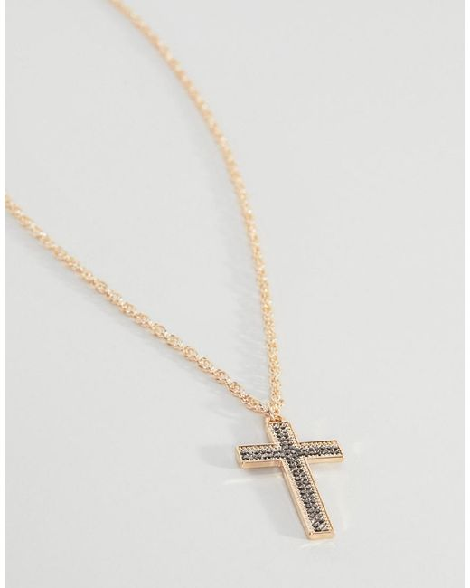 Necklace With Crystal Cross Pendant In Gold - Gold Asos