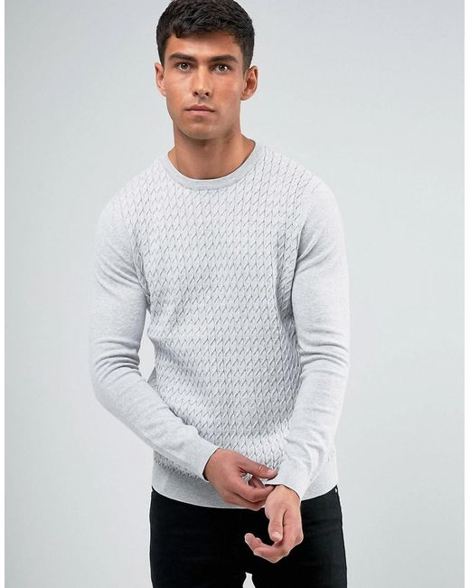 Threadbare - Gray Cable Knit Sweater for Men - Lyst