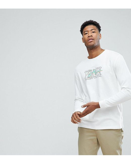 ASOS - White Tall Relaxed Long Sleeve Heavyweight T-shirt With Text Print for Men - Lyst