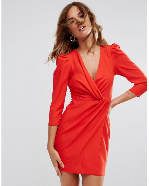 ASOS - Red Asos Wrap Front Mini Dress - Lyst