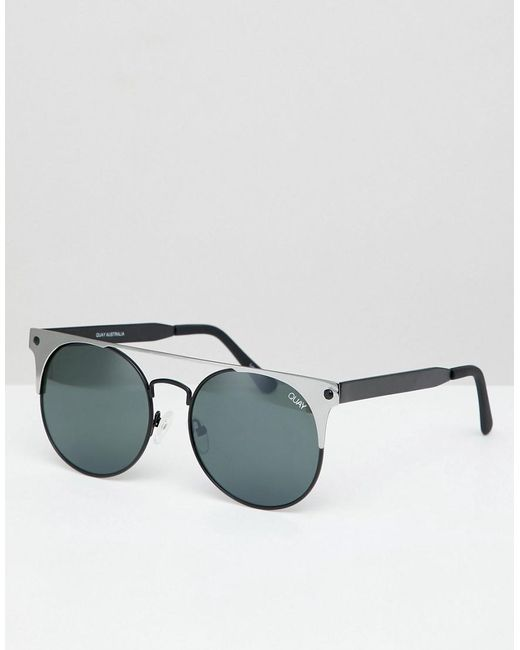 Quay - Black In The Crowd Round Sunglasses - Lyst