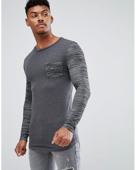 ASOS - Gray Asos Muscle Long Sleeve T-shirt With Stretch And Inject Pocket And Sleeve for Men - Lyst