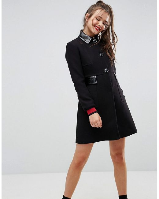 ASOS - Black Skater Coat With Patent Collar And Tipped Cuff - Lyst