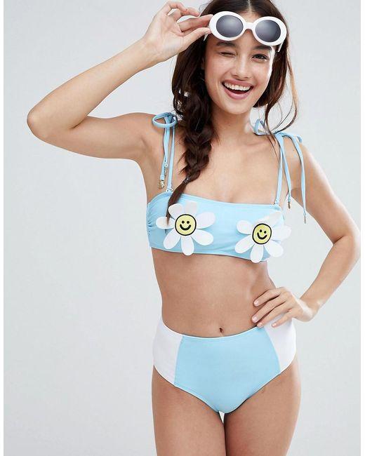 b46f189d0e Lazy Oaf - Blue Daisy Bikini Top - Lyst ...