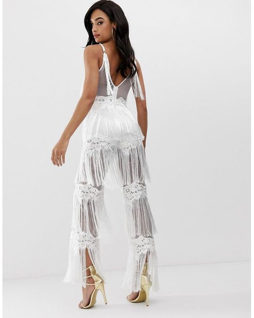255dbcf1a8 ... Lioness - Sleeveless Allover Lace Jumpsuit With Tassel Trims In White -  Lyst