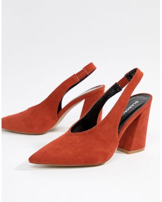 Glamorous - Slingback Pointed Block Heeled Shoes In Orange - Lyst