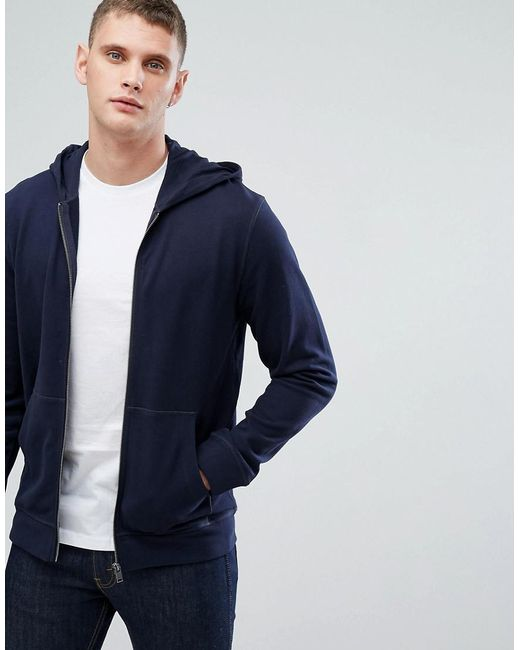 SELECTED - Blue Zip Through Hoodie for Men - Lyst