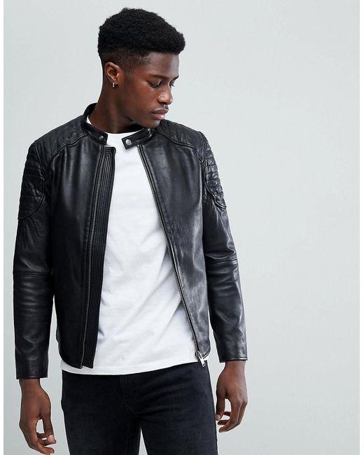 SELECTED - Black Leather Racer Jacket for Men - Lyst